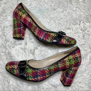 Vero Cuoio Designer Tweed Woven Colorful Heel 7.5